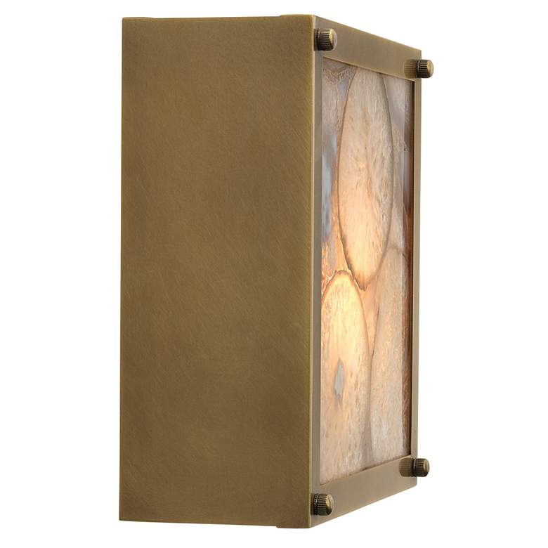 "Leopold 9""H Agate Stone and Brass Metal Square Wall Sconce more views"