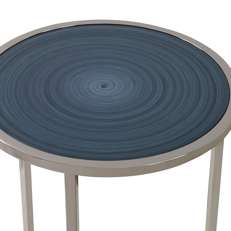 "Uttermost Whirl 12"" Wide Polished Nickel Round Drink Table more views"