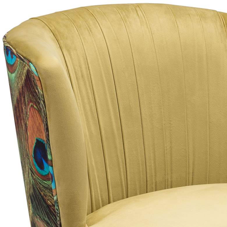 Zuo Tabitha Green Pleated and Peacock Print Accent Chair more views