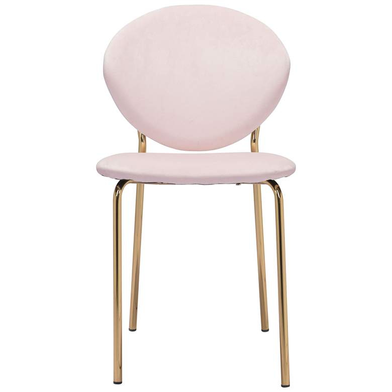 Zuo Clyde Pink Velvet Dining Chairs Set of 2 more views