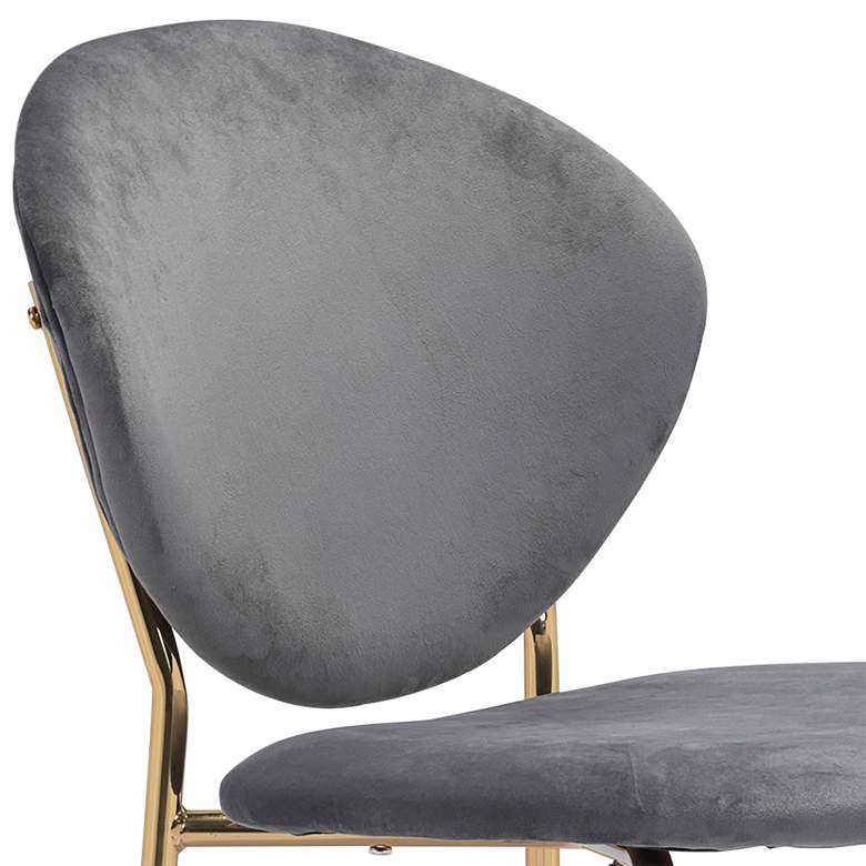 Zuo Clyde Dark Gray Velvet Dining Chairs Set of 2 more views