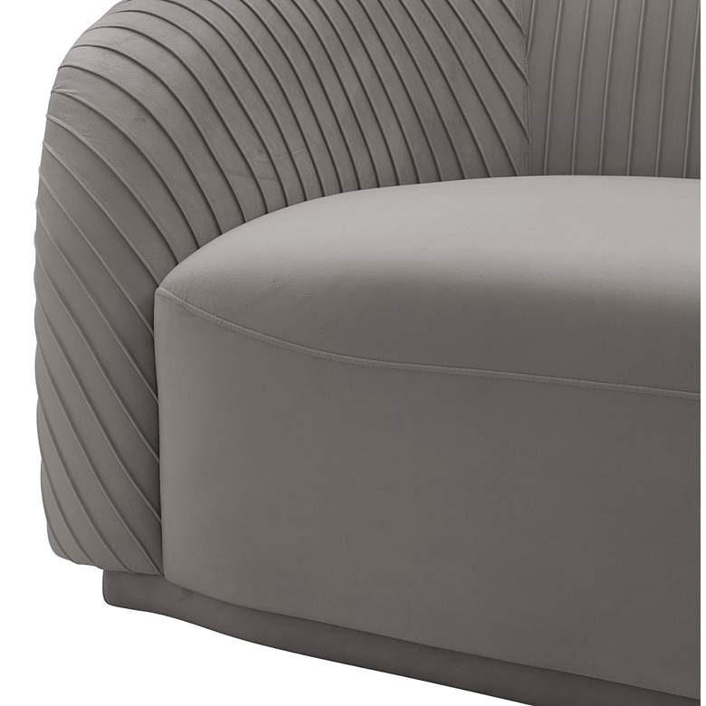 "Yara 90 1/2"" Wide Pleated Gray Velvet Sofa more views"