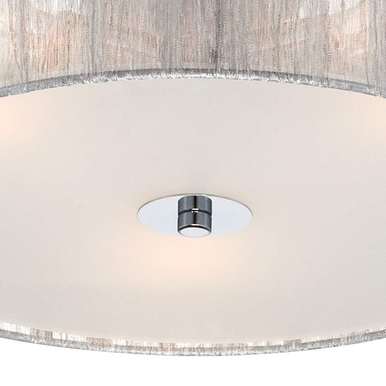 "Possini Euro Sheer 16"" Wide Silver Fabric Ceiling Light more views"