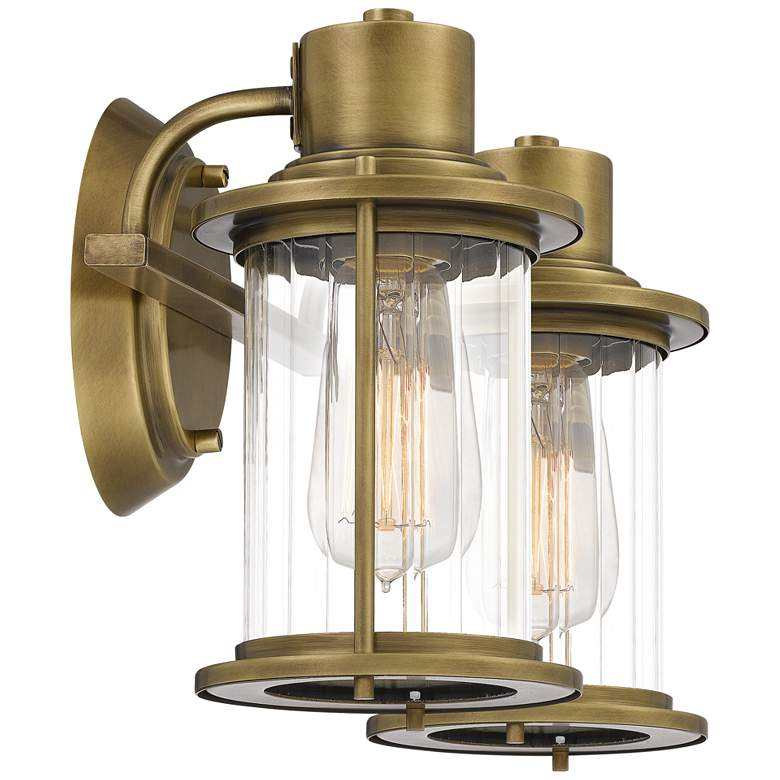 "Quoizel Riggs 8 1/2""H Weathered Brass 2-Light Wall Sconce more views"