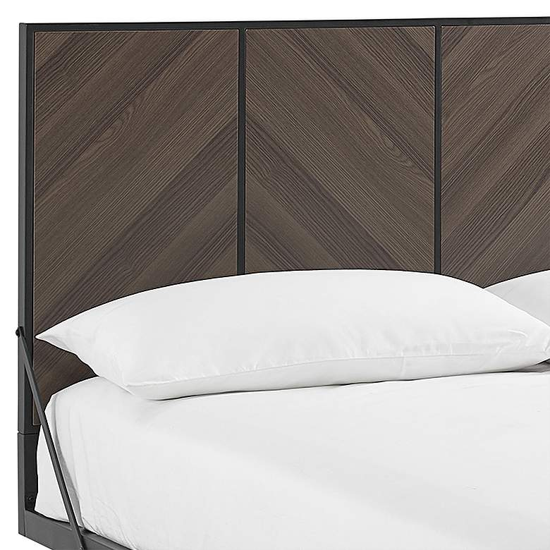 Ash Brown Bookmatch Metal and Wood Queen Platform Bed more views