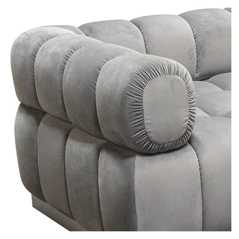 "Image 97"" Wide Platinum Gray Velvet Tufted Low Profile Sofa more views"