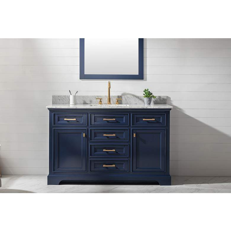 "Milano 54"" Wide Blue Wood 6-Drawer Single Sink Vanity more views"