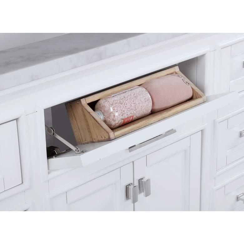 "Valentino 84"" Wide White Wood 7-Drawer Double Sink Vanity more views"