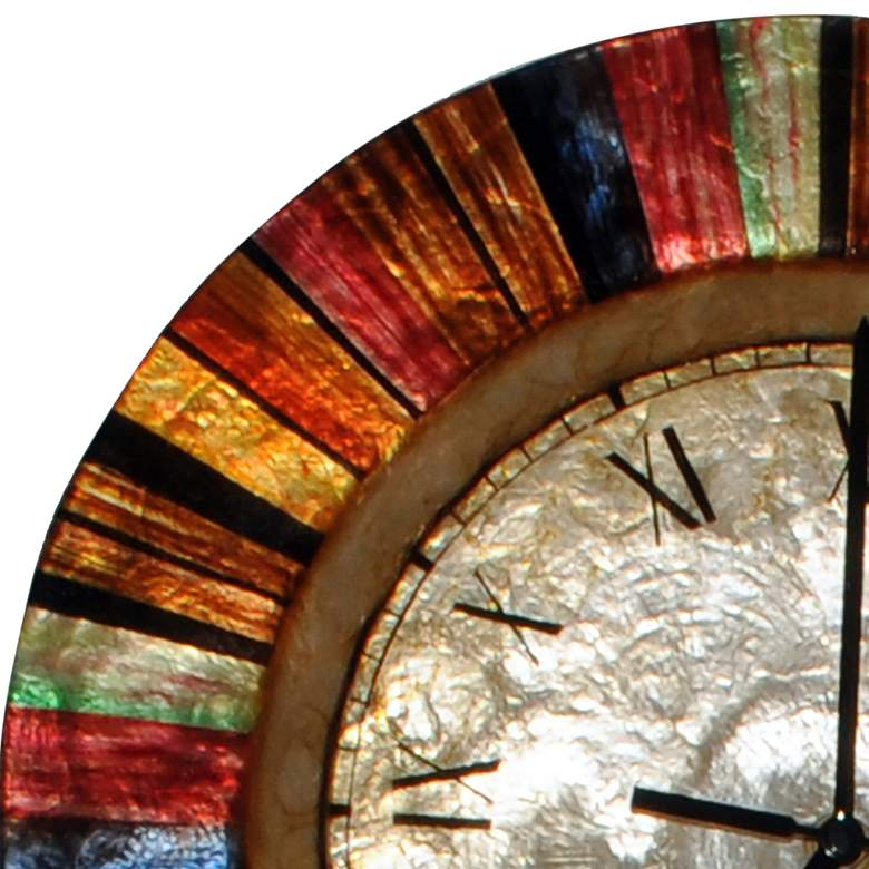 "Eangee Multi-Color Capiz Shell Face 13"" Round Wall Clock more views"