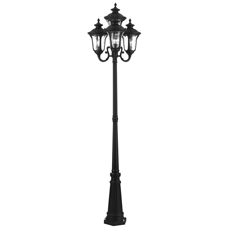 "Oxford 93"" High Textured Black 4-Lantern Outdoor Post Light more views"
