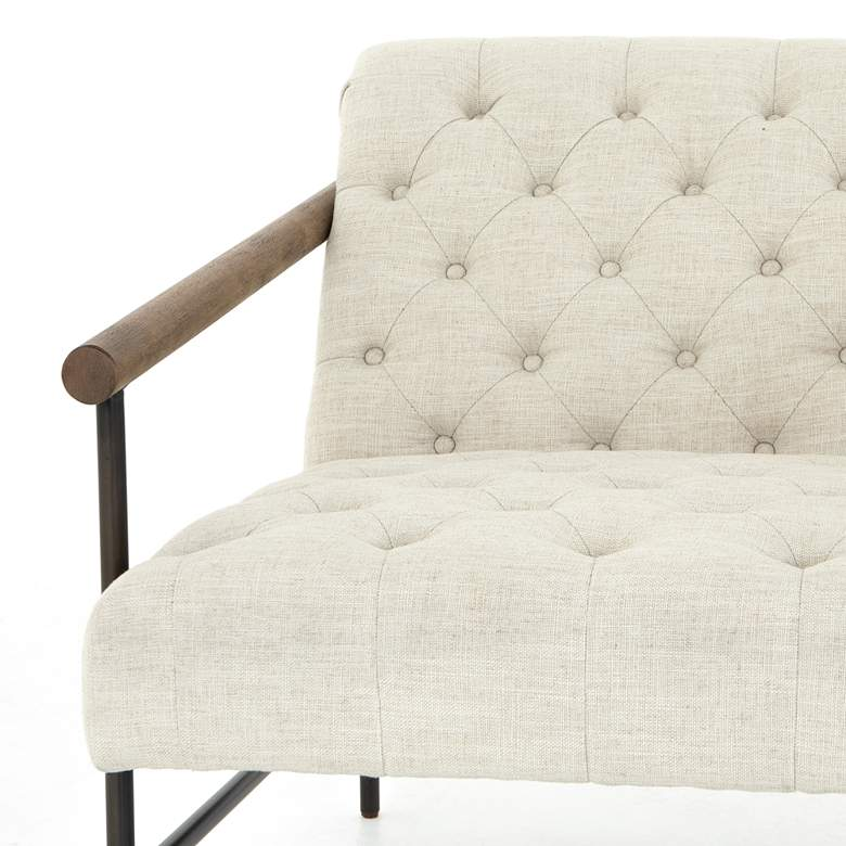 Maxine Modern Cambric White Tufted Iron Lounge Chair more views