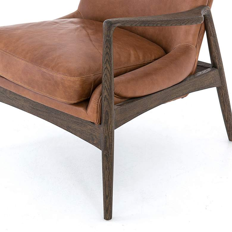 Braden Mid-Century Brandy Leather and Nettlewood Chair more views