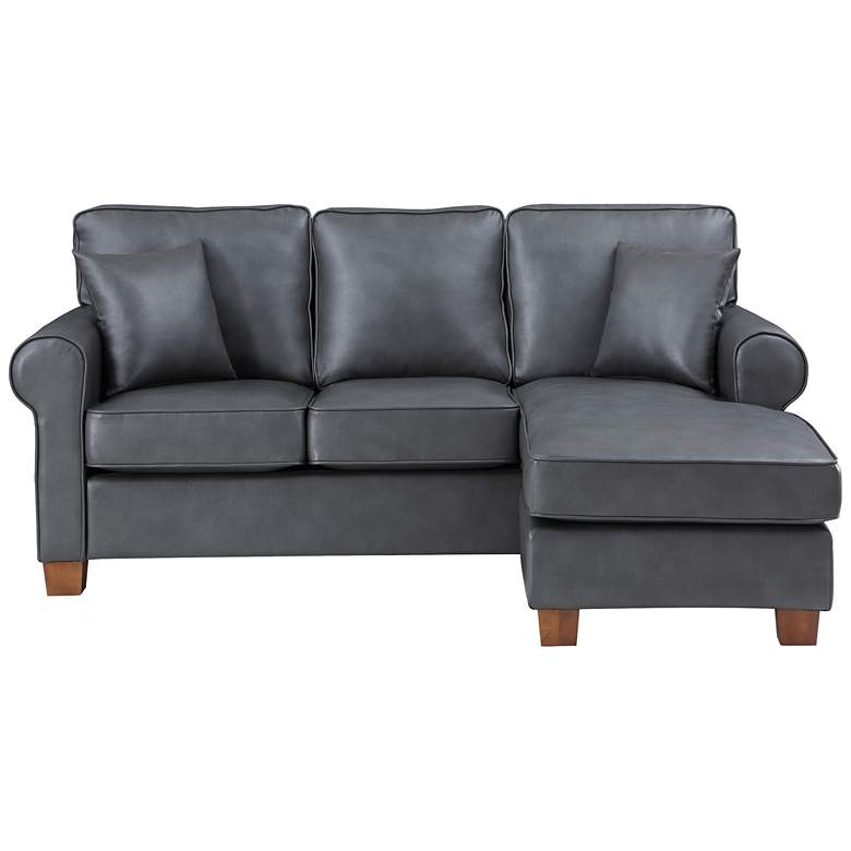 Rylee Pewter Faux Leather L-Shaped Sectional Sofa w/ Pillows more views