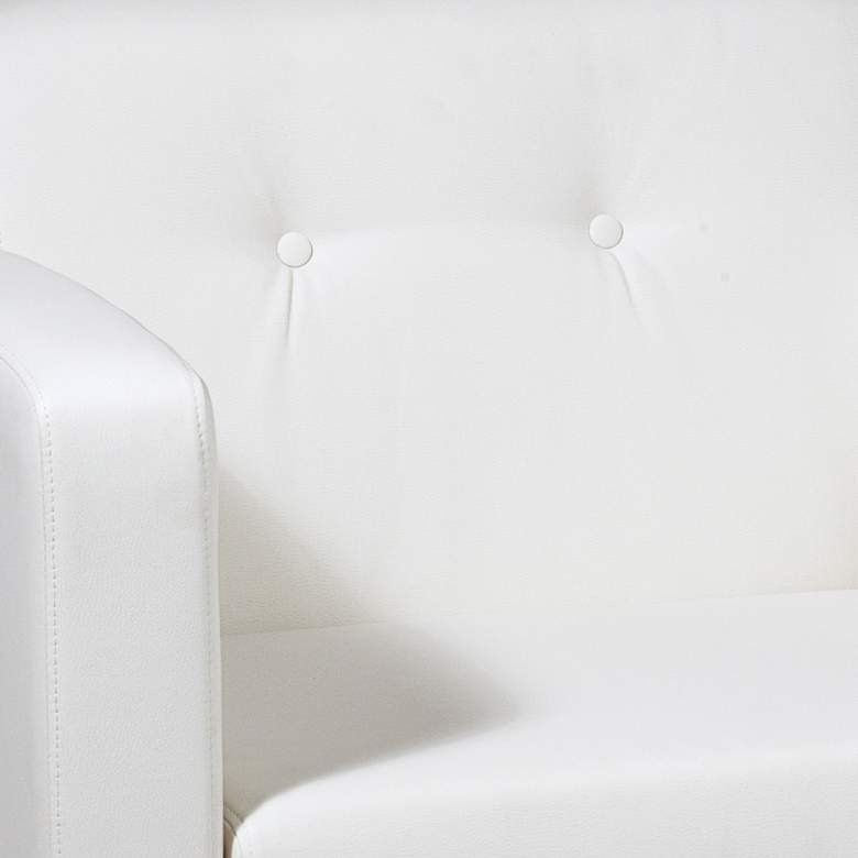 Wall Street White Faux Leather Button-Tufted Armchair more views