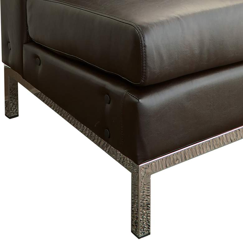 Wall Street Espresso Faux Leather Tufted Right Armchair more views