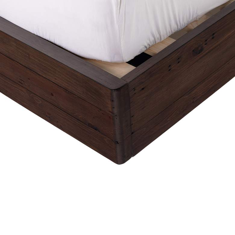 Lineo Rustic Wood Upholstered Queen Bed more views
