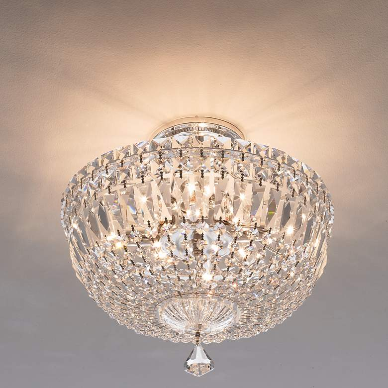 "Schonbek Petite Crystal Silver 13"" H Swarovski Ceiling Light more views"