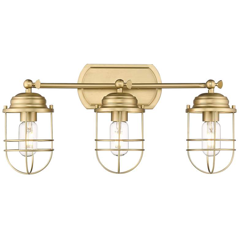 "Seaport 21 1/4""W Brushed Champagne Bronze 3-Light Bath Light more views"