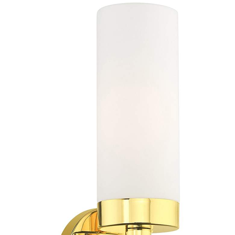 "Aero 11 3/4"" High Polished Brass and White Glass Wall Sconce more views"