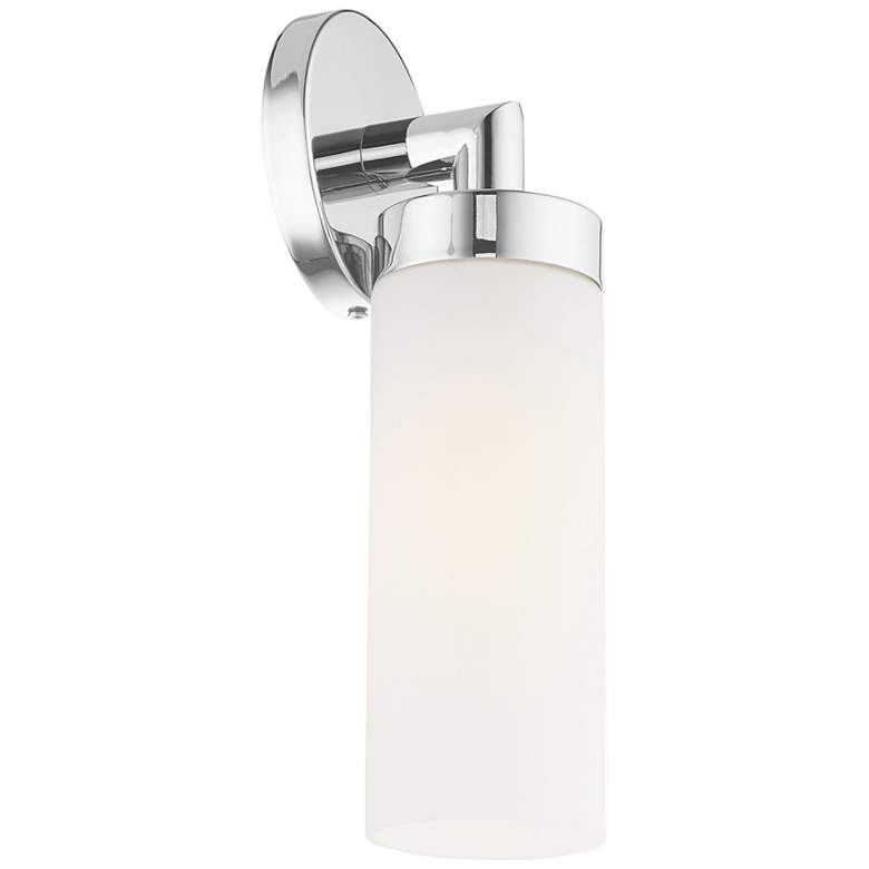 "Aero 11 3/4""H Polished Chrome and White Glass Wall Sconce more views"