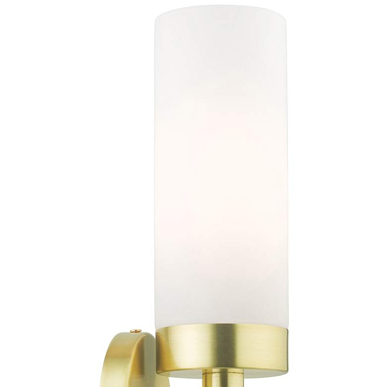 "Aero 11 3/4""H Satin Brass Metal and White Glass Wall Sconce more views"