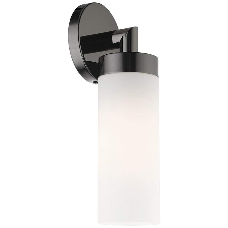 "Aero 11 3/4"" High Black Chrome and White Glass Wall Sconce more views"