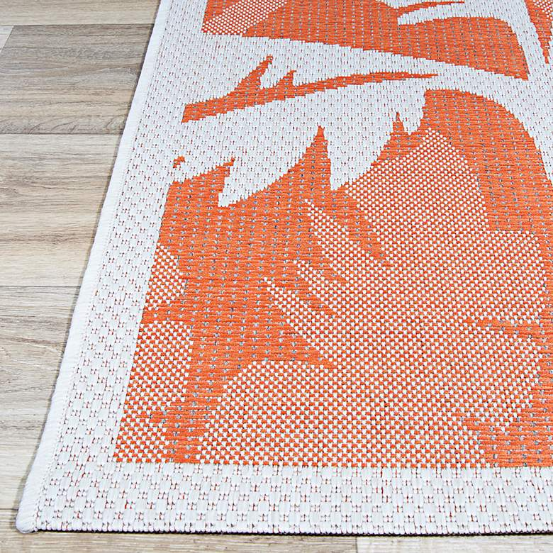 "Monaco Coastal Floral 2'x3'7"" Ivory and Orange Outdoor Rug more views"