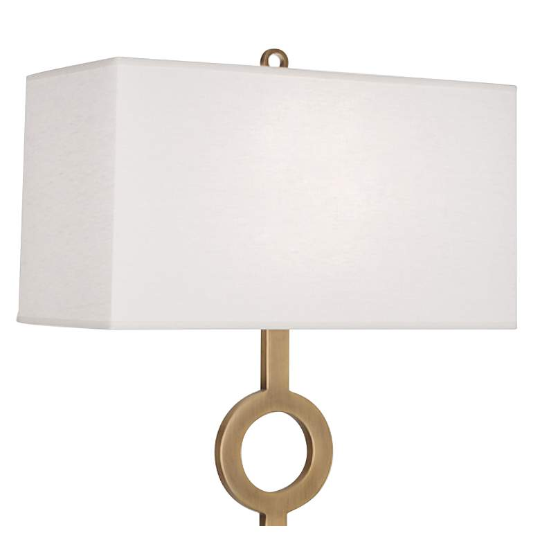 Robert Abbey Oculus Brass Metal Floor Lamp with Oyster Shade more views