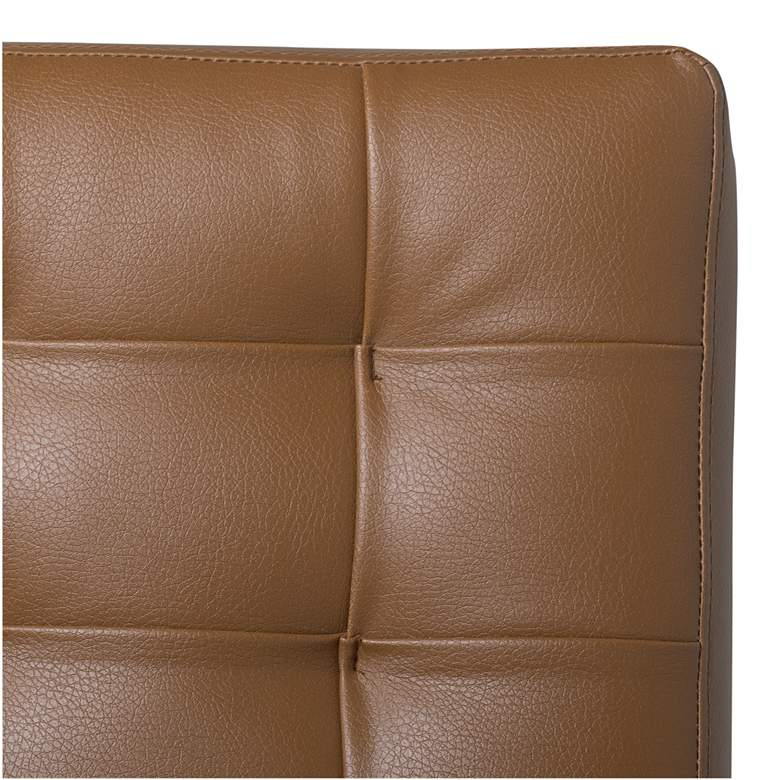 Atrium Caramel Brown Bonded Leather Tufted Accent Chair more views