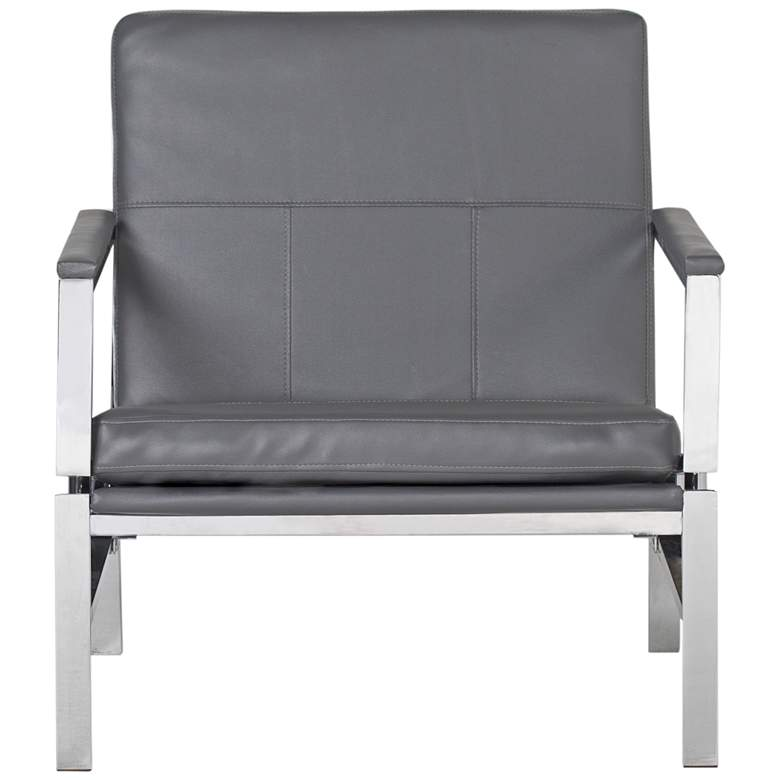 Atlas Smoke Gray Bonded Leather Accent Chair more views
