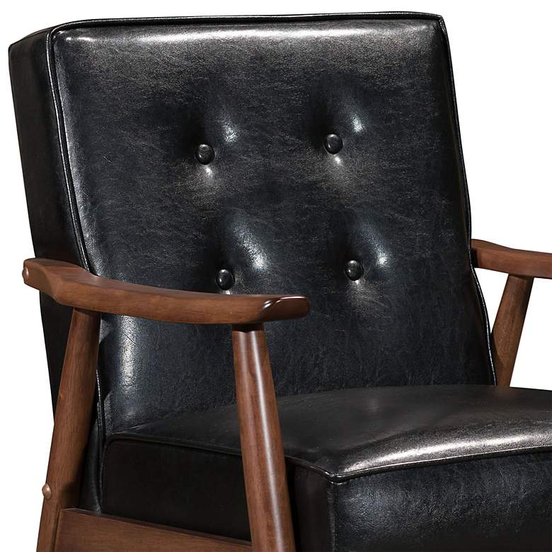 Zuo Rocky Black Faux Leather Button Tufted Arm Chair more views