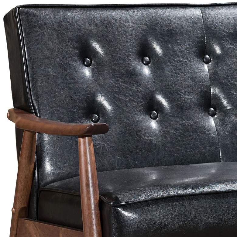 Zuo Rocky Black Faux Leather Button Tufted Sofa more views