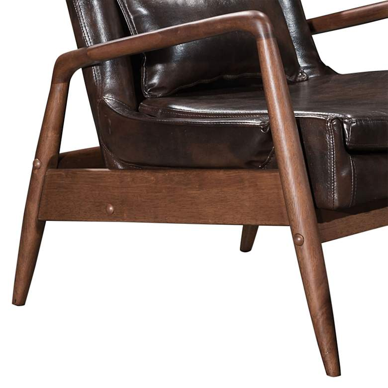 Zuo Bully Brown Faux Leather Lounge Chair and Ottoman Set more views