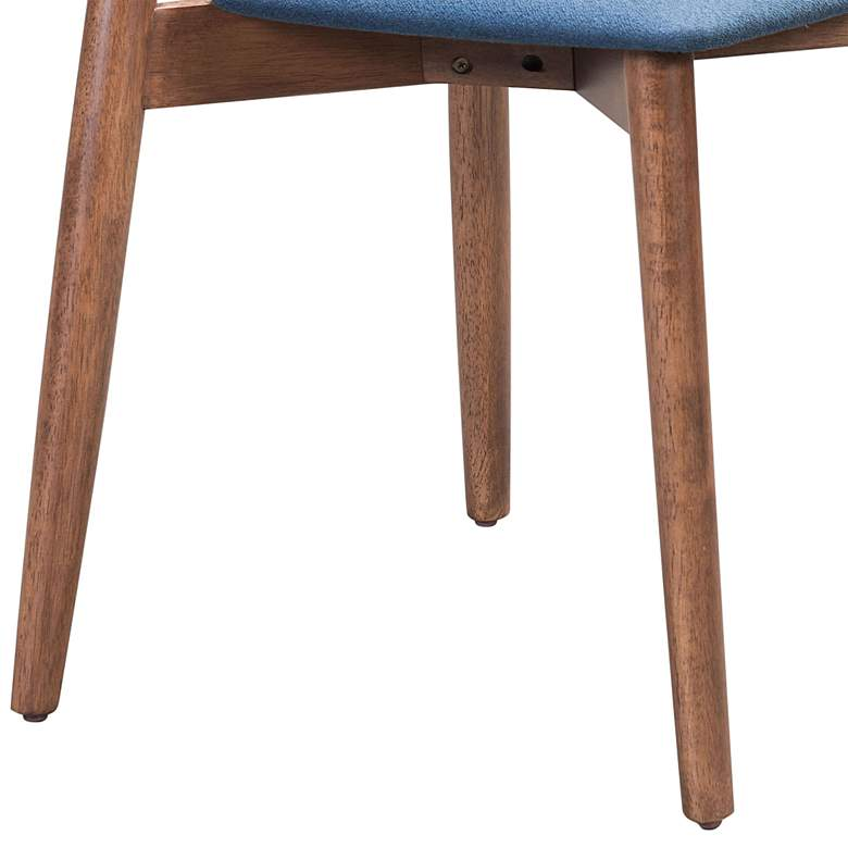 Zuo Newman Blue Fabric and Walnut Dining Chairs Set of 2 more views