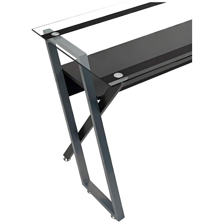 "Colorado 66"" Wide Black and Silver Modern Office Desk  more views"