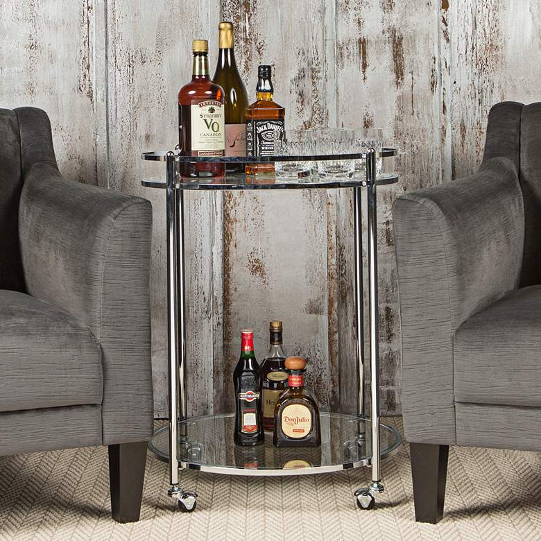 "Home Veranda 24"" Wide Chrome and Glass Round Modern Bar Cart more views"