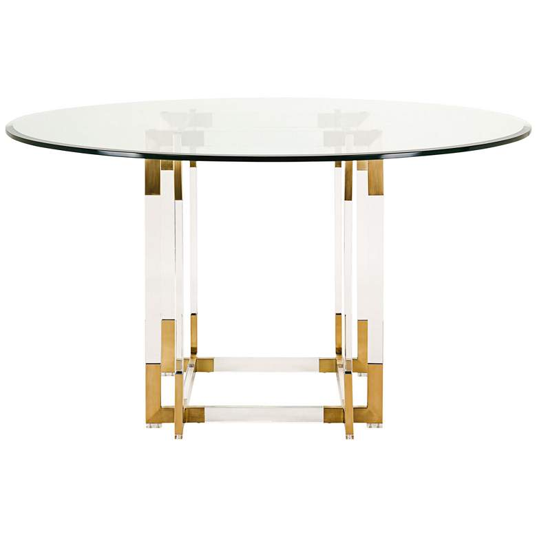 "Koryn 54"" Wide Brass and Glass Modern Round Dining Table more views"