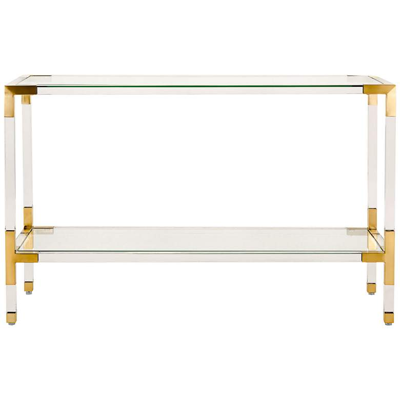"Arverne 47"" Wide Brass Steel and Clear Glass Console Table more views"