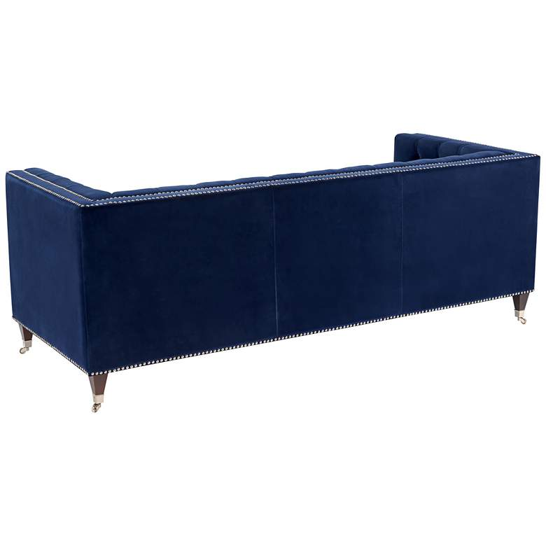 "Miller 84 1/4"" Wide Navy Velvet Hollywood Glam Tufted Sofa more views"
