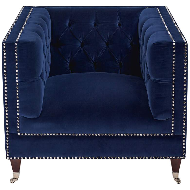 Miller Navy Velvet Hollywood Glam Tufted Square Armchair more views