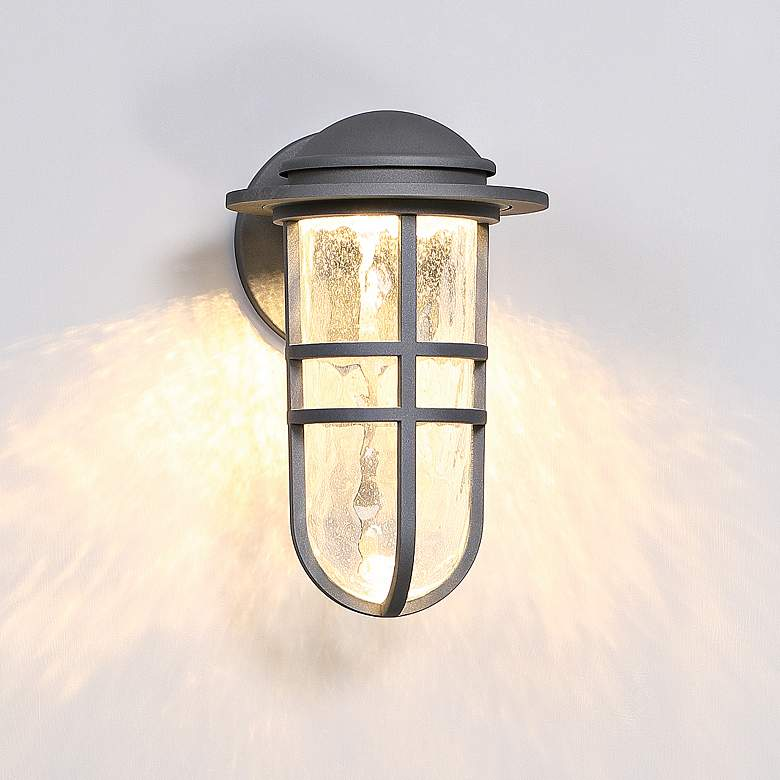 "dweLED Steampunk 13"" High Graphite LED Outdoor Wall Light more views"