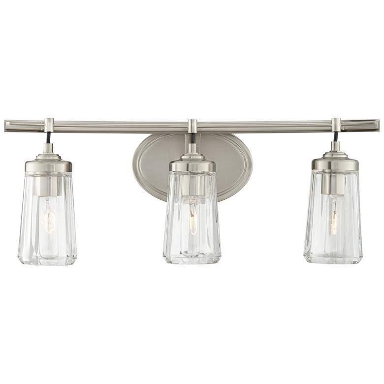 "Poleis 24"" Wide Brushed Nickel 3-Light Bath Vanity Light more views"