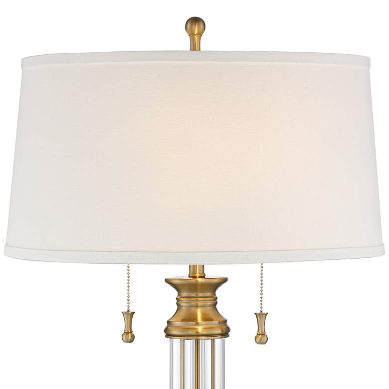 Rolland Warm Antique Brass and Crystal Column Table Lamp more views