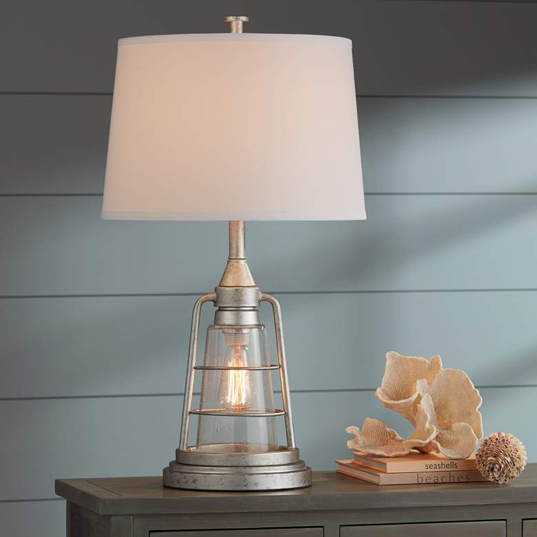 "Fisher Galvanized Metal 28 3/4"" High Nightlight Table Lamp more views"