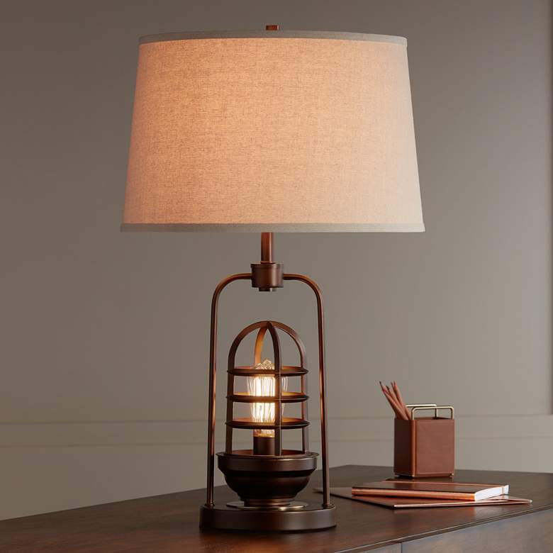 Hobie Bronze Nightlight Cage Table Lamp more views