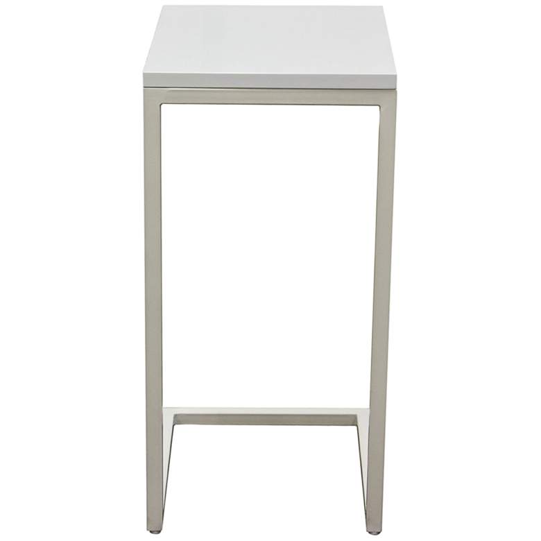 Edge High Gloss White Top and Metal Accent Table more views