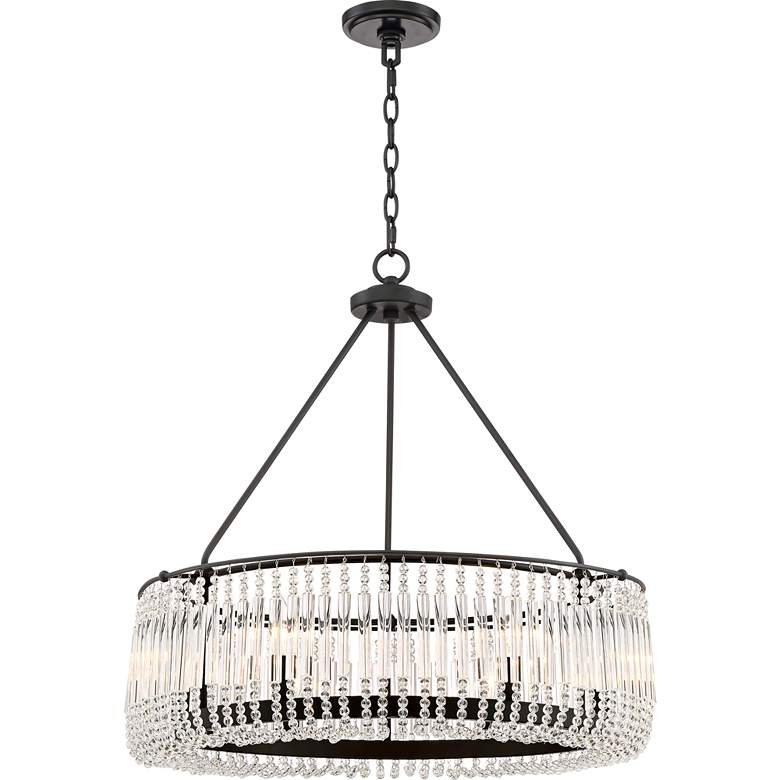"Capilla Clear Crystal 26""W Matte Black Pendant Chandelier more views"