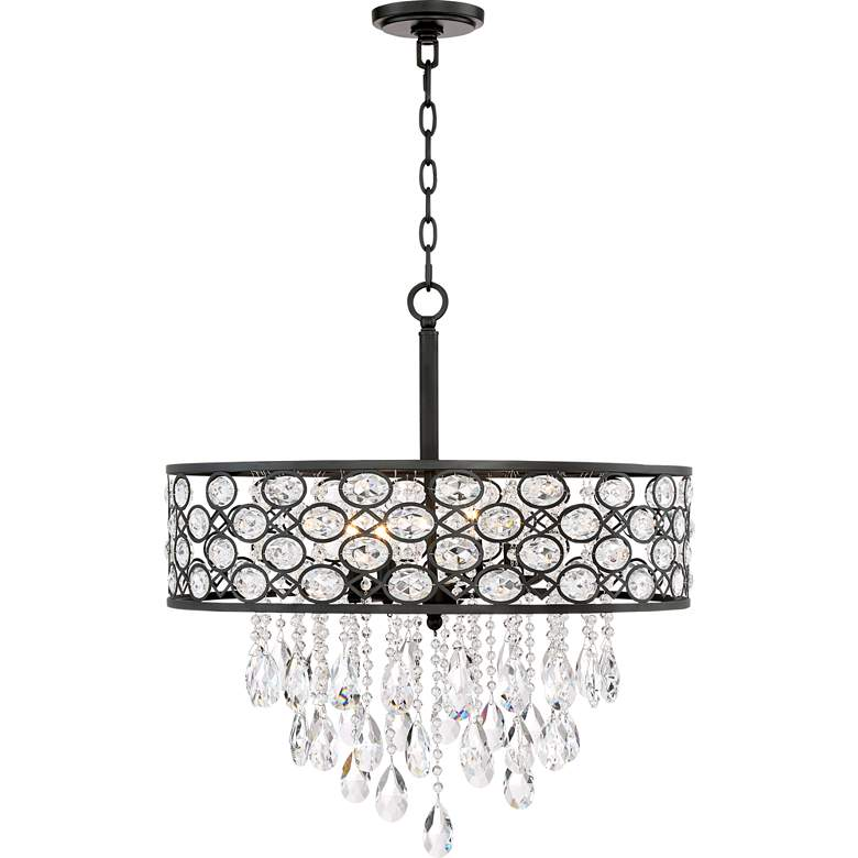 "Ellena 24"" Wide 4-Light Black Crystal Pendant Light more views"