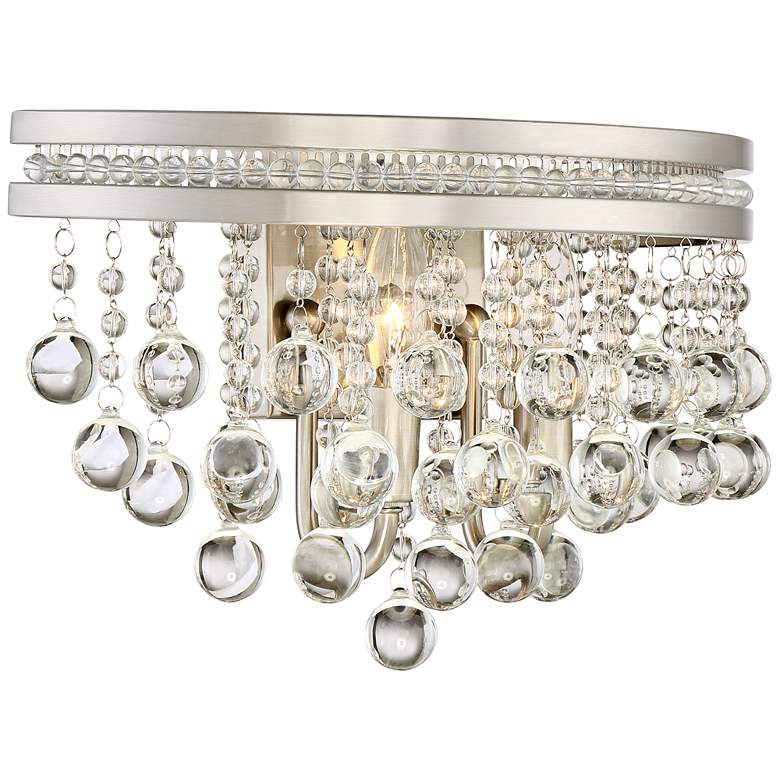 "Regina Brushed Nickel 9 1/2""H 2-Light Crystal Wall Sconce more views"
