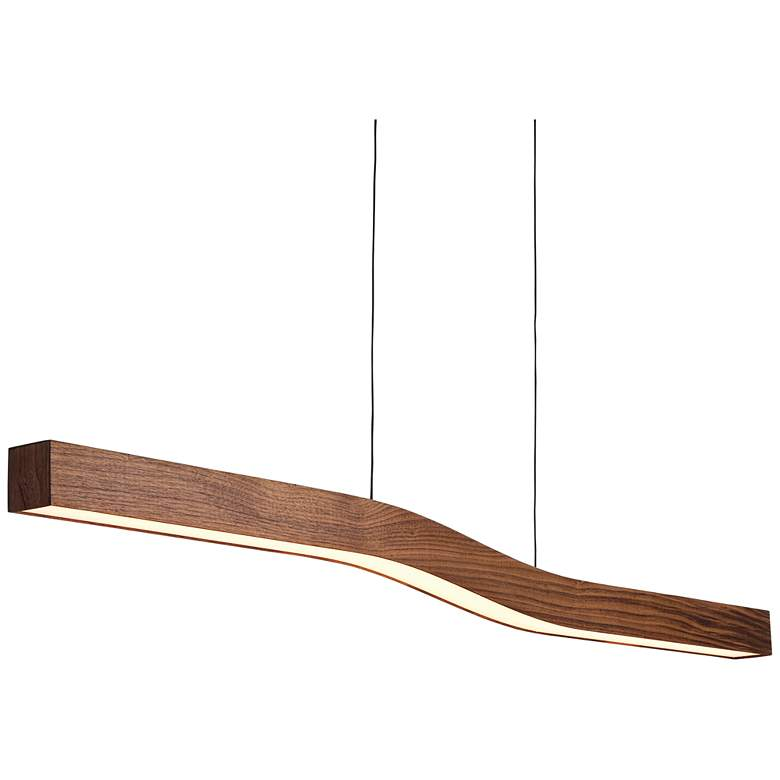 "Cerno Camur 56"" Wide Oiled Walnut LED Island Pendant more views"